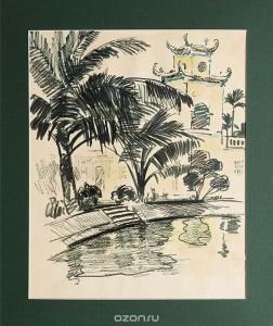 """Картина """"Пальмы у пагоды""""."""